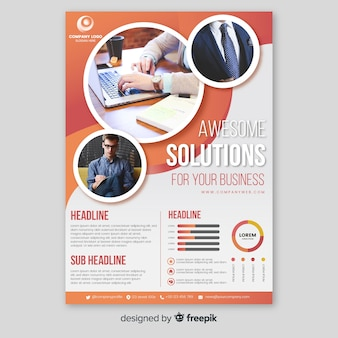 Business brochure template with photo