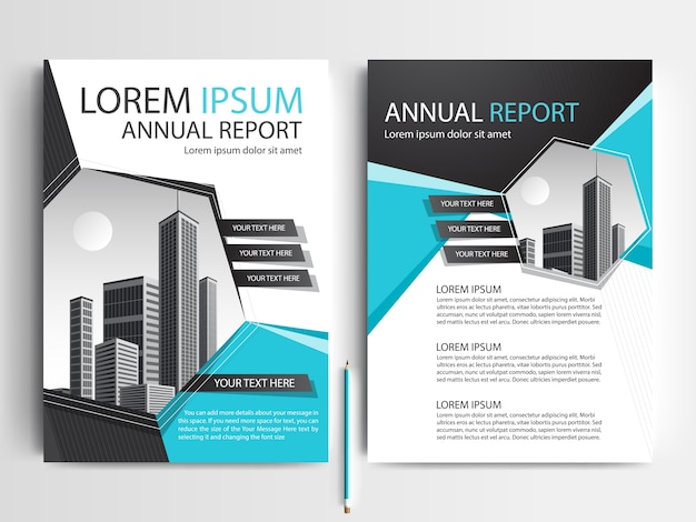 Business brochure template with teal and black geometric shapes