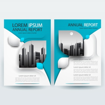 Business brochure template with teal geometric