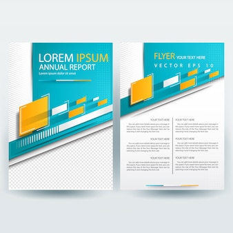 Business brochure template with teal and yellow geometric shapes
