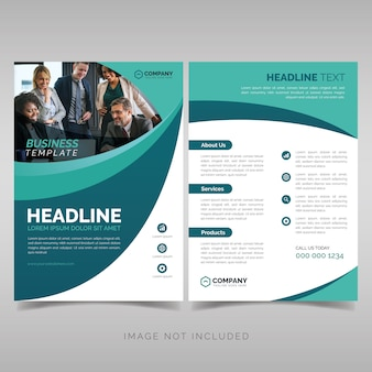 Business brochure template with wavy shapes