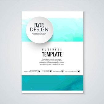 Business brochure, turquoise watercolor