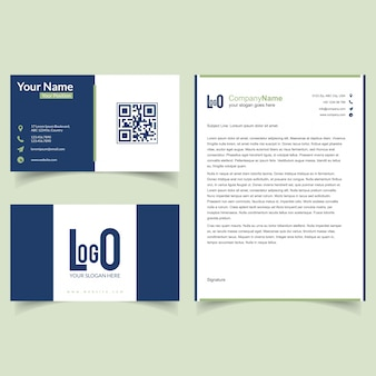 Business brochure and visiting card set with blue background  vector