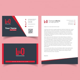 Business brochure and visiting card set with dark background vector