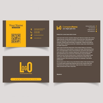 Business brochure and visiting card set with light background vector