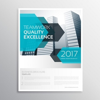 Business brochure with blue arrows