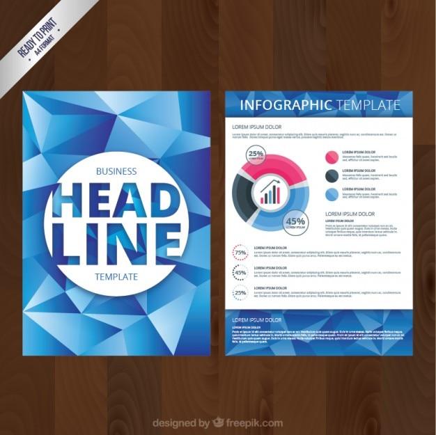 Бизнес брошюра с голубыми полигонов