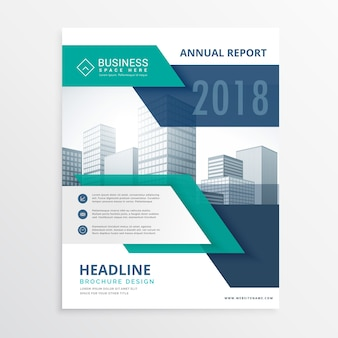 Business brochure with blue tones and geometric shapes