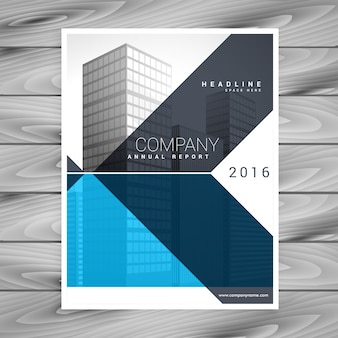 Business brochure with geometric blue shapes