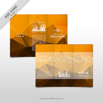 Business brochure with geometric shapes in brown tones