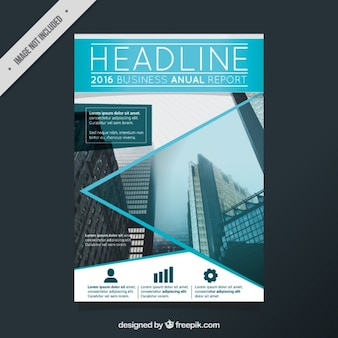 Business brochure with geometric shapes