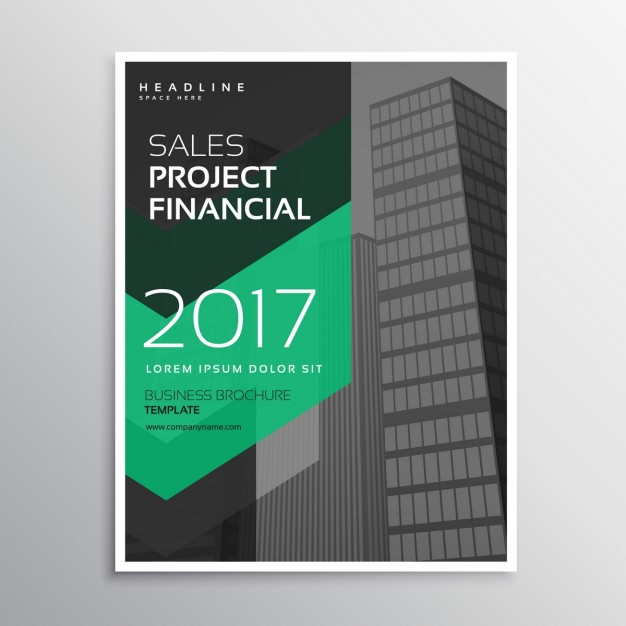 Business brochure with green arrows