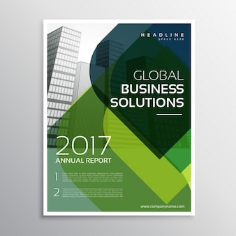Business brochure with green shapes
