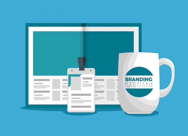Business brochure with license and coffee cup