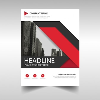 Business brochure with red and black ribbons