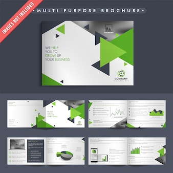 Business brochures with green and gray triangles