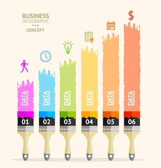 ビジネスファイナンス縦縞フラットデザインのビジネスブラシインフォグラフィック