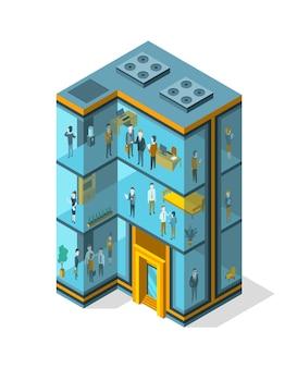 オフィス、インテリア家具、人と等角のビジネスビル。モダンな3dアーバンオフィス。ガラス建築の建物のファサード