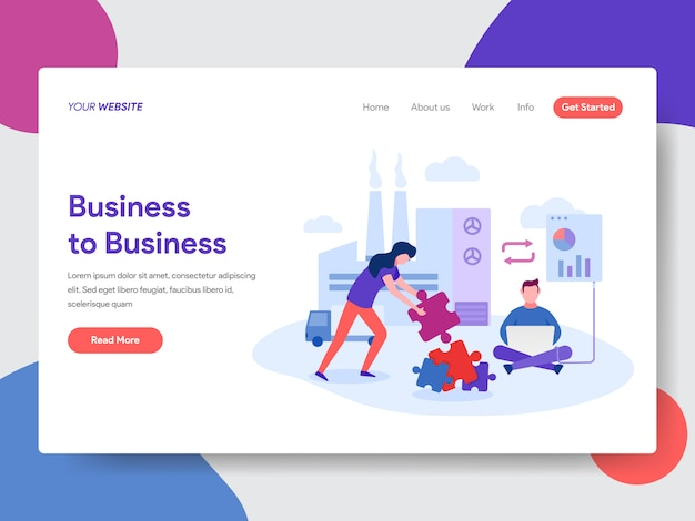 Business to business illustration for web page