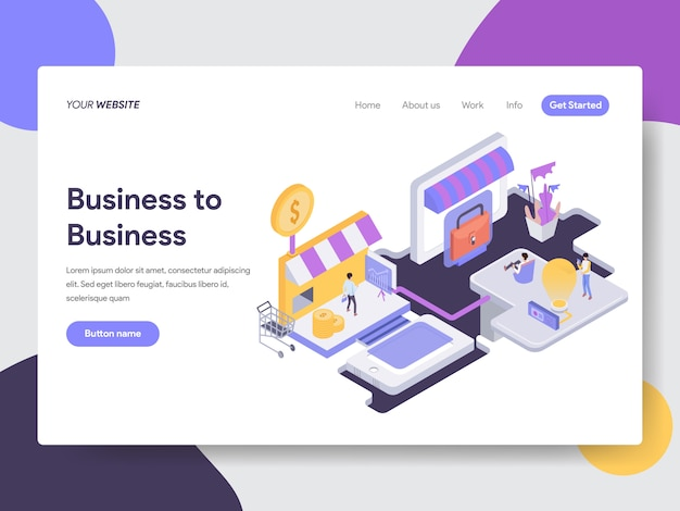 Business to business isometric illustration for web pages