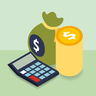 Business calculator dollar coins and bag money isometric