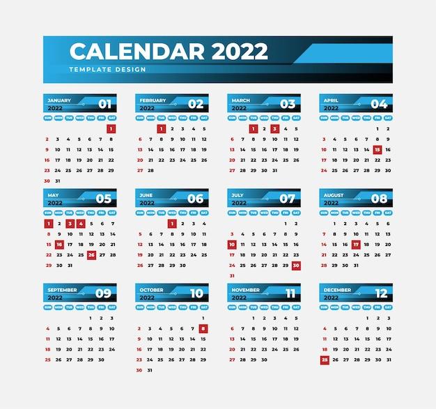 青い色のビジネスカレンダー2022テンプレート