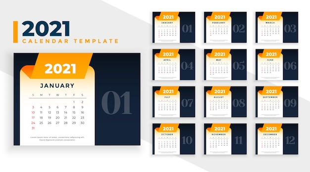 Business calendar design template for 2021 new year
