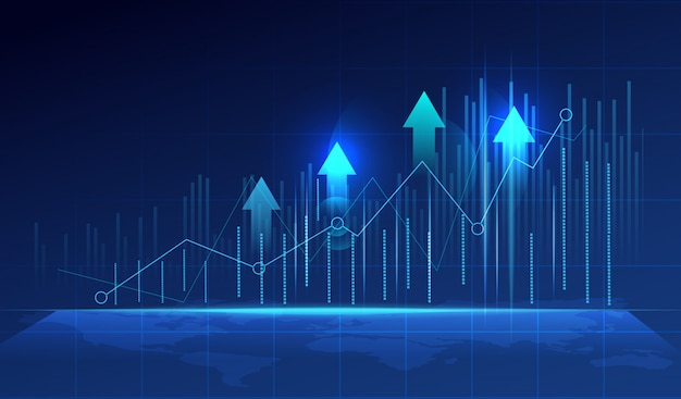 Business candle stick graph chart on blue background.