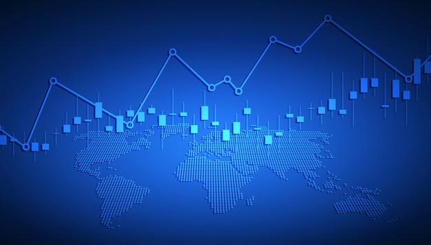 株式市場の投資取引、強気のポイント、ビジネスと財務の概念、レポートおよび投資の強気のポイントのビジネスキャンドルスティックグラフ。図