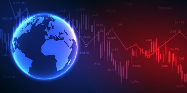 株式市場投資取引、強気ポイント、ビジネスと金融の概念、レポート、投資の弱気ポイントのビジネスキャンドルスティックグラフ