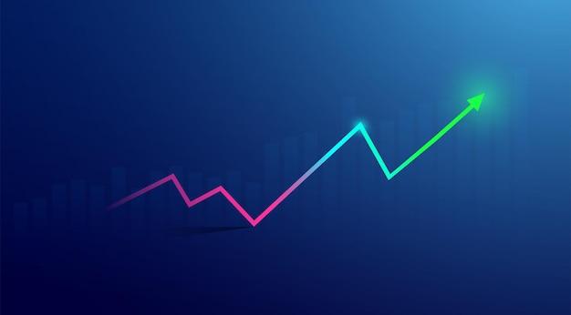 青の背景に株式市場の投資取引のビジネスローソク足グラフチャート。強気のポイント、グラフの上昇傾向。経済ベクトルデザイン。