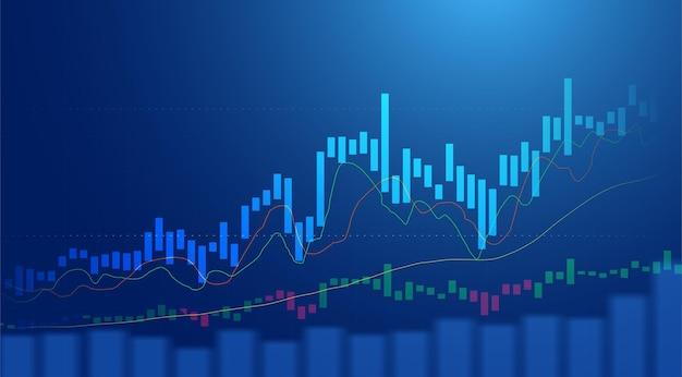 Бизнес-свеча диаграмма диаграммы инвестиционной торговли фондового рынка на синем фоне. бычья точка, восходящий тренд графика. векторный дизайн экономики.