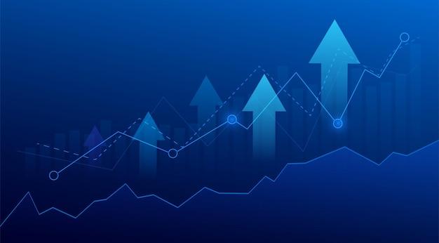 Диаграмма диаграммы палки свечи дела инвестиционной торговли фондового рынка на синем фоне. бычья точка, восходящий тренд графика. векторный дизайн экономики.