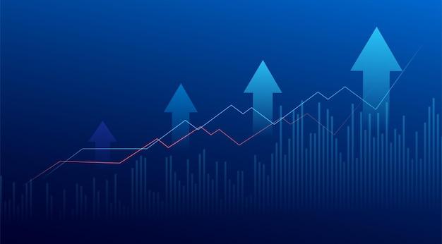 파란색 배경에 주식 시장 투자 거래의 비즈니스 촛불 스틱 그래프 차트. 강세 포인트, 그래프의 상승 추세. 경제 벡터 디자인