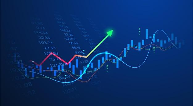 Диаграмма диаграммы палки свечи дела инвестиционной торговли фондового рынка на синем фоне. бычья точка, восходящий тренд графика. векторный дизайн экономики