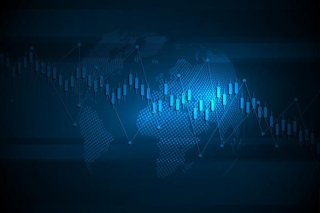 株式市場の投資取引のビジネスキャンドルスティックグラフ。グラフのトレンド。図