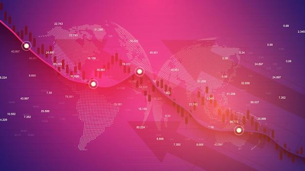 株式市場の投資取引のビジネスローソク足グラフチャート