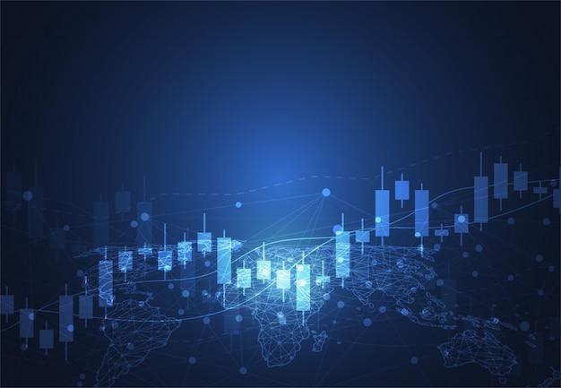 株式市場投資のビジネスキャンドルスティックグラフ