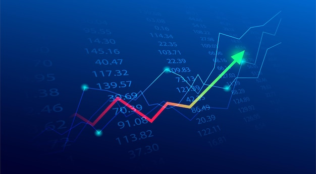 Business candle stick graph chart of stock market investment trading on blue background. bullish point, up trend of graph. economy vector design.