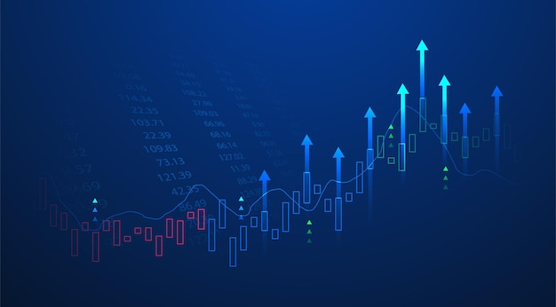Business candle stick graph chart of stock market investment trading on blue background. bullish point, up trend of graph. economy vector design