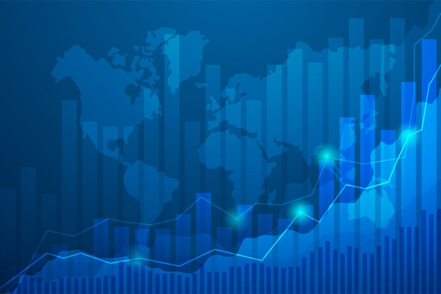 Business candle stick graph chart of stock market investment trading on blue background.
