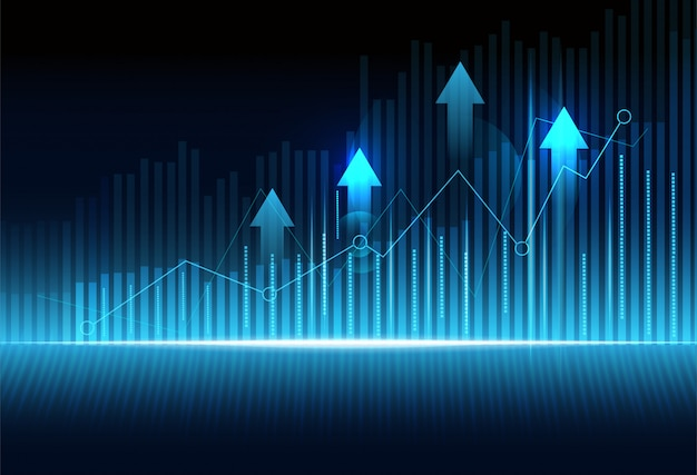 Business candle stick graph chart of stock market investment trading on dark blue background.
