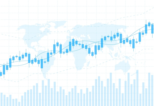 Business candle stick graph chart of stock market