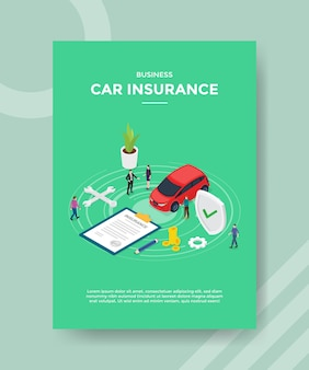 Business car insurance flyer template