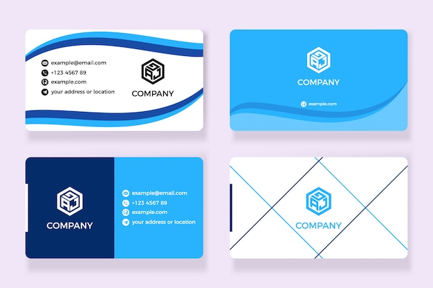 Business card abstract blue wave