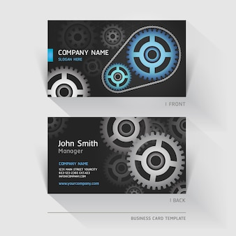 Business card abstract gear background.