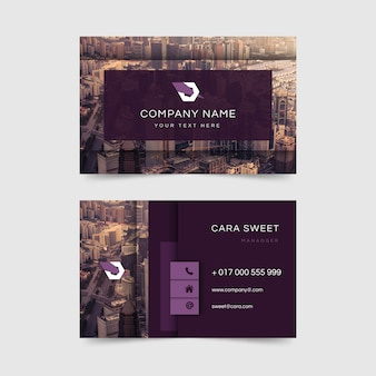 Business card abstract template with image