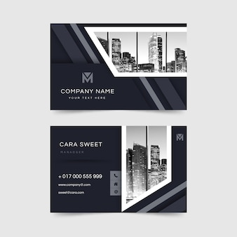 Business card abstract template with photo