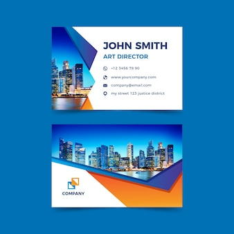 Business card abstract template with pic