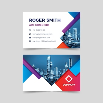 Business card abstract template with picture